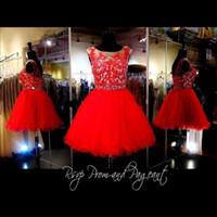 muhteşem dantel elbise diz uzunluğu toptan satış-Yeni Kırmızı Kısa Mezuniyet Elbiseleri 2017 Ucuz Muhteşem Kristal Dantel Diz Boyu Balo Parti Kızlar Için 8. Sınıf Mezuniyet BA3649 Altında 100