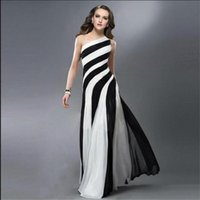 Wholesale Long Striped Summer Dresses - 2016 Prom Dresses Striped zebra Black and white cross back One shoulder Festa Dresses Cutaway Sides Floor Length Sexy Formal Dresses WB