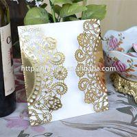 "Wholesale Lace For Invitations Wholesale - Wholesale- Elegant wedding cards for wedding decorations! ""flowers lace"" golden card laser cut wedding invitations vintage"