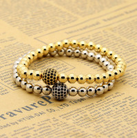 Wholesale Stretch Bracelet Chain Ring - Wholesale 10pcs lot 6mm Real Gold, Rose Gold, Platinum Plated Copper Round Beads With 10mm Black Cz Stretch Mens Bracelet