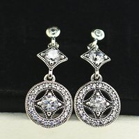 Wholesale Dangle Charm Alphabet - High-quality New 100% S925 Sterling Silver Earrings European Pandora Style Jewelry Earrings Vintage Allure Drop Dangle Earrings