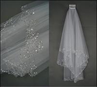 voile tulle bordé de perles ivoire achat en gros de-Vente chaude 100% New Ivory / White 2 Couches Perlées Bord Perles Paillettes De Mariée Voile De Mariée Avec Peigne