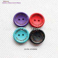 Wholesale Sewing Buttons Purple - (4colors,100pcs lot) 'Handmade' Wooden Button Crafts Sew Wood Mix Button Purple Red Blue Black 20mm-BY0254G