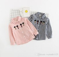 Wholesale Kids Blouse Embroidery - INS NEW boy Kids shirt long Sleeve turn down collar plaid cartton embroidery shirt kids causal 100% cotton all match kids shirt & blouse