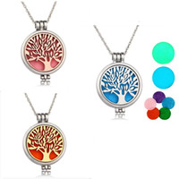 Wholesale Pendant Flower Life - 2018 Tree Of Life Luminous Aromatherapy perfume diffuser necklaces essential oil locket necklaces antique silver bronze censer jewelry