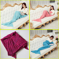 Wholesale adult mermaid tail blanket for sale - Group buy 195x95cm Adults Knitted Mermaid Tail Blankets Super Soft Warmer Blanket Bed Sleeping Costume Air condition Knit Blanket Colors