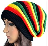 Wholesale Plain Bob - Fashion Bob Marley Jamaican reggae cap Multi-colour Striped Rasta Hat Slouchy Baggie Beanie Skullies Gorro rasta Women