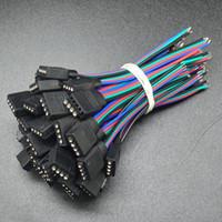 iğneli teller toptan satış-100 adet 10mm genişlik 4 pin lehimsiz led şerit kablo uzatma tel bağlayıcı aydınlatma aksesuarları için smd 5050 rgb ücretsiz kargo
