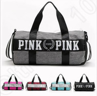 Wholesale black nylon tote - Women Handbags Pink Letter Large Capacity Travel Duffle Striped Waterproof Beach Bag Shoulder Bag 30pcs OOA781