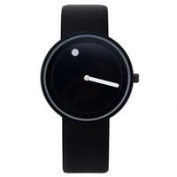 точечные наручные часы оптовых-Продвижение 2018 минималистский для наручных часов черный белый дизайн часы мужчины высокое качество Точка и линия кварцевые мода девушка часы