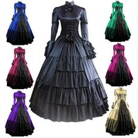 Wholesale gothic lolita blue dress - (GT014) Gothic Lolita Civil WarMedieval Dress Gothic Victorian Ball Gown Fancy Dress Prom Halloween Party Costume