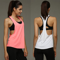 Wholesale Summer Tanks Shirts For Women - Summer Sexy Women Tank Tops Quick Dry Loose Gym Fitness Sport Sleeveless Vest Singlet for Running Training T-shirt