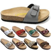 Wholesale Open Homes - Free Shipping Cheap 2018 birkenstock Madrid Sandals Cork Slippers women One word slippers,Summer Platforms Flats Home Slippers(with box)