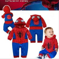 Wholesale Romper Spiderman - 100% Cotton Cute Baby Wear Spiderman Baby Kids Rompers Jumpsuit Spiderman Baby Romper Boys Clothes Jumpsuit Halloween Custom Gift Wholesale