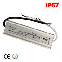 elektrik şeritleri toptan satış-DC 12 V 24 V Güç kaynağı elektronik trafo 12 W 20 W 30 W 40 W 50 W 60 W 80 W LED Lamba Sürücü IP67 alimentation 5A AC 220 110 V için 12 V Şerit