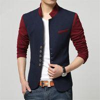Wholesale Chinese Men Blazer - Wholesale-Plus Size Blazer Men Chinese Collar Suit Mens Summer Blazer Hommes Casual Jacket Fashion Patchwork Brand Clothing Veste Homme