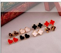 Wholesale Low Price Studs - Minne Brand Fashion Clover Flower Stud Earrings Brincos For Woman 9 colors For Choise Vintage Earrings Low Price #NR331