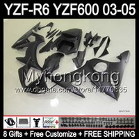 Wholesale R6 Fairing Kit Matte - 8Gifts+Body For YAMAHA 03-04 ALL Flat black YZF-R6 03 04 YZF600 YZF-600 Y94199 YZF R6 Matte blk YZF 600 YZFR6 YZF R 6 2003 2004 Fairing Kit