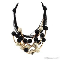 Wholesale Black Pearl Choker Necklace - Star Graceful Jewelry Pearl Necklace Black Rope Chain Beads Golden Tube Statement Collar Choker Necklace For Women Dress CE1570
