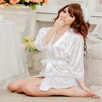 Wholesale Open Top Lingerie - Wholesale-Top Quality~Hot Sexy Womens Ladies Open Front Satin Lingerie Chiffon Sleepwear Nightdress Robes Lace G-string Gown