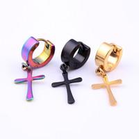 Wholesale Titanium Cross Earrings - New design hoop earrings Titanium steel cross earrings personality unisex earrings free shipping