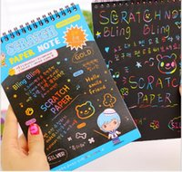 hand sketches Canada - Wholesale- Big size Black cardboard Creative DIY hand draw sketch notes kids toy Scratch note Escolar School Supplies WJ0717
