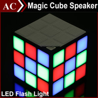 Magic Cube Colorido 36 LED Flash Light Bluetooth Wireless Mini Speaker Q5 Portable Super Bass Sound Subwoofer Handsfree para iPhone Tablet PC