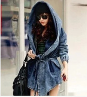 Wholesale Cool Fashion Denim Trench - Hot Sale 2016 Fashion Women Lady Denim Trench Coat Hoodie Hooded Outerwear Jean Jacket Cool