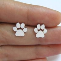 Venda quente 10 Pairs / lot Tiny Dog Paw Stud Earrings para Mulheres Animal Foot Print Jewelry Gift
