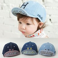 Wholesale Baby Boy Brim Hats - Spring Summer kids cowboy embroidery ball cap baby turning brim soft hat baby baseball cap infants denim cotton cloth girls boys baby hat