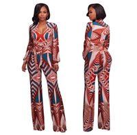 Wholesale Prints Patterns Jumpsuits - Womens Pattern Print Fashion Long Maxi Jumpsuits Rompers Plus Size Sexy Bandage Full Length One Piece Pants For Female