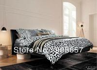 Wholesale Leopard Skin Duvet - black white leopard skin pattern boys home textile bed linen bedding cotton full queen comforter bedclothes duvet covers sets