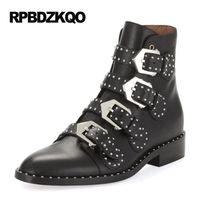 Wholesale Black Stud Ankle Boots - Women Booties Black Stud Chunky Punk Rock Boots Comfortable Ankle Shoes Designer Flat Brand Waterproof Metal Rivet Female