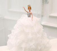 Wholesale Presents Wedding Cake - The new dress barbie dolls White princess bride A birthday present Wedding studio furnishing articles free shipping HW013