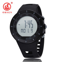 Wholesale Ohsen Military Watch - OHSEN New 2017 Sports fashion mens wristwatches swimming Climbing Watches black rubber band military electronic LED watch relogio masculino