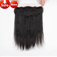 Wholesale Middle Parting Lace Closure Brazillian - Quality 8A Brazillian Human Hair Lace Frontal Closure 13x2 Straight Closure with Bleached Knots Baby Hair Closure Lace Frontal Straight SALE