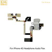 Wholesale Headphone Iphone 4s Original - 5pcs lot Original For iPhone 4G 4S Headphone Audio Flex Jack Power Volume Mute Silent Switch On Off Flex Cable Ribbon Replacement Parts
