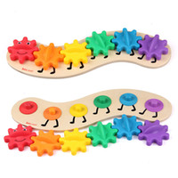 Wholesale Free Educational Materials - Big Gear Caterpillar 35cm Wooden Toys Educational Montessori Material Intelligence Baby Kids Puzzle Toy Good Quality Free Shipping