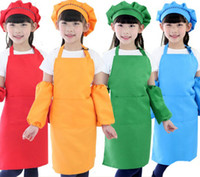 Wholesale painting bibs - 10 Colors Kids Aprons Pocket Craft Cooking Baking Art Painting Kids Kitchen Dining Bib Kitchen Supplies