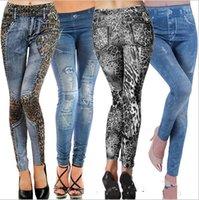 Wholesale Tattoo Legging Tights - 2015 Fashion 6 color women printed leggings Seamless cowboy Leopard jeans legging Tattoo thin leggings Jeggings tights Pants TOPB2961 500PCS