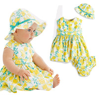 Wholesale Tropical Dresses Wholesalers - PrettyBaby 2016 summer baby girls lemon dress hat+dress+small shorts tropical fruit printed short sleeves baby clothing free shipping