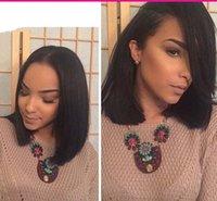 ipek naturals toptan satış-Kısa Siyah Kadınlar Için Brezilyalı Saç Peruk Doğal Renk Ipek Düz İnsan Saç Peruk Bob Tarzı Tutkalsız Tam Dantel Peruk Ile Bebek saç