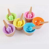 детские чашки для мороженого оптовых-Пластиковые чашки мороженого с ложками многофункциональный дети анти падения чашки конфеты цвет посуда горячие Продажа 2 4mh J R