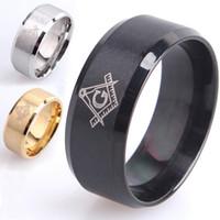 Wholesale Wholesaler Masonic - Fashion Jewelry Freemasons Masonic Stainless Steel Ring Band Titanium Silver Black Gold Men Size 7 to 12 Wedding engagement Rings