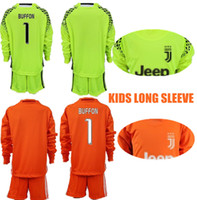 2018 Juventude Long Buffon Goalkeeper Jerseys Kids Long Kit Soccer Set # 1 Buffon 23 Szczesny Kid Goalkeeper Jerseys Child Buffon Uniform Suit