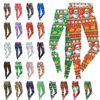 Wholesale Wholesale Leggings United States - 2017 Europe and the United States Fashion printing 3D Women's Leggings Multi-color Snow Elk Christmas Clothing Winter Pants