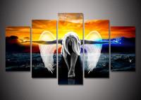 fotos gratis hd al por mayor-2017 HD Print 5 unidades lienzo arte de la pared ángel con alas pintura anime decoración del hogar poster poster wall art picture Envío gratis