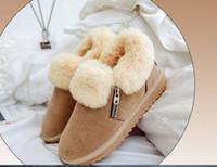 Wholesale Korean Women Flat Ankle Boots - 2017 snow boots women short winter bare boots Korean and ankle splus cashmere Martin boots wild students cotton shoes