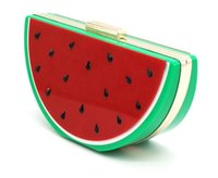 Wholesale cell phones shell shapes - 2018 New European Fashion Acrylic Lovely Fruit Shape Watermelon Bag Women's Creative Party Handbag Hot Sale Shoulder Bag