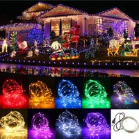 Wholesale Xmas Usb - 10M 5V 100 LED USB Copper Wire Flexible Strip Light for Xmas Wedding Party Decorating 9 Color Available
